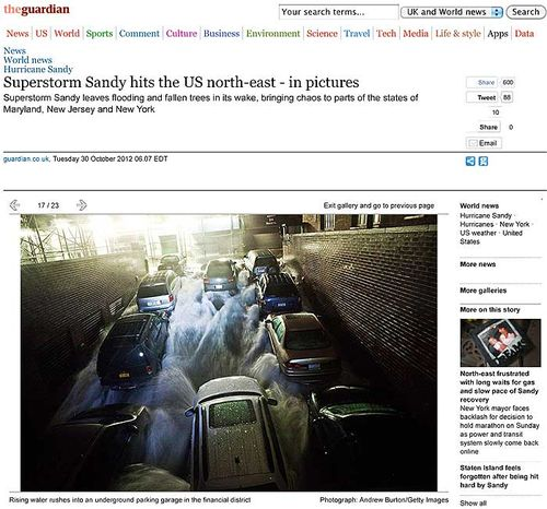 Hurricane Sandy pictures, from The Guardian