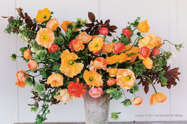 A spring arrangement from Floret Farm's Cut Flower Garden by Erin Benzakein (with Julie Chai)