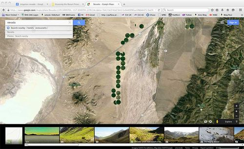 Irrigating the Nevada dessert. Image ©GardenPhotos.com/Google Earth