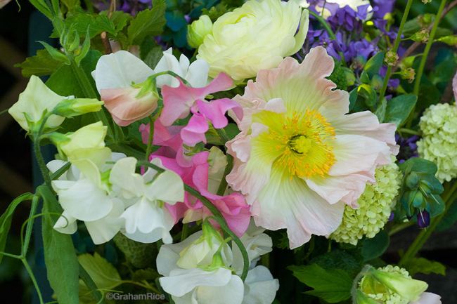 Flower and Farm bouquet with sweet peas and Iceland poppies